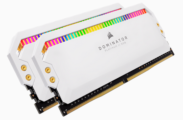 CORSAIR DOMINATOR PLATINUM DDR4, 3200MHz 16GB 2x8GB DIMM, XMP 2.0, White Heatspreader, RGB LED, 1.35V, for AMD Ryzen