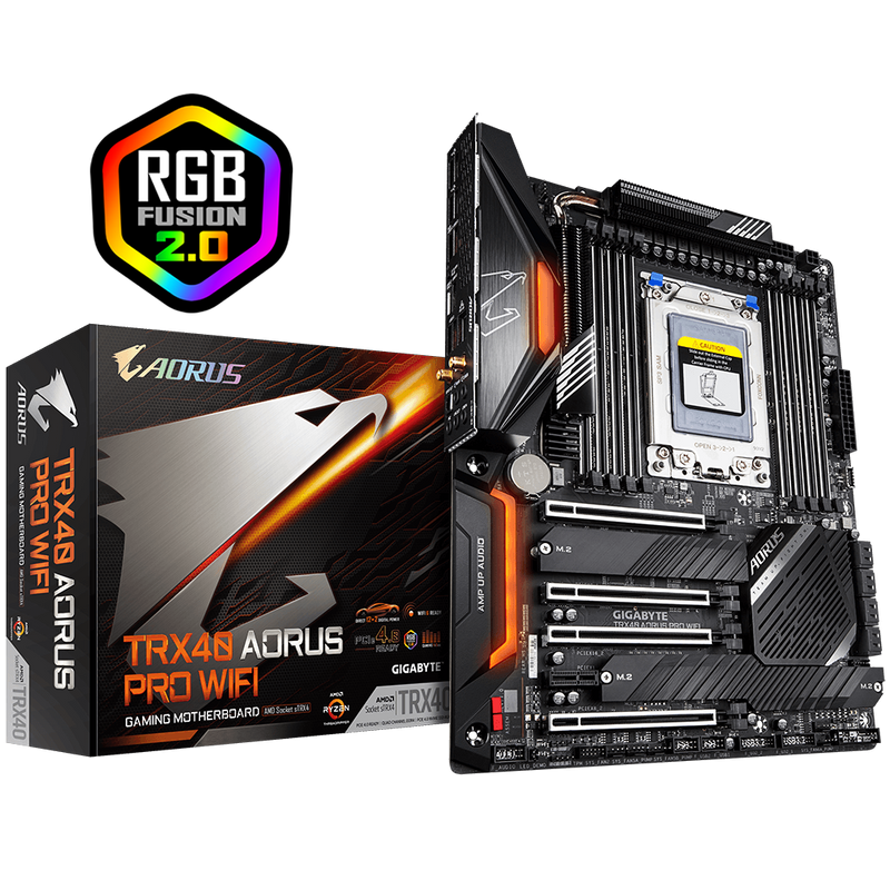 AMD TRX40 AORUS MB w Direct 12 plus 2 Phases Infineon Digital VRM, FinsArray Heatsink,3 PCIe 4.0,M.2 w Thermal Guards,IWIFi6, 802.