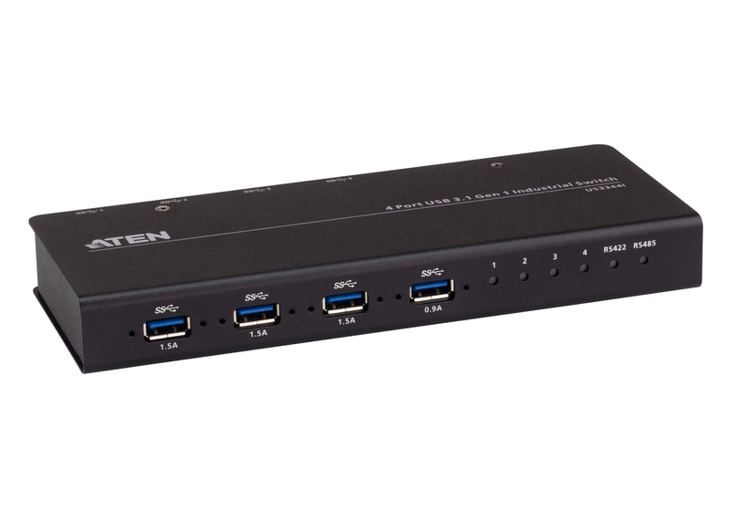 Aten 4x4 USB 3.1 Gen 1 Industrial Grade Hub Switch, up to 5Gbps data throughput, supports serial control RS422/RS485