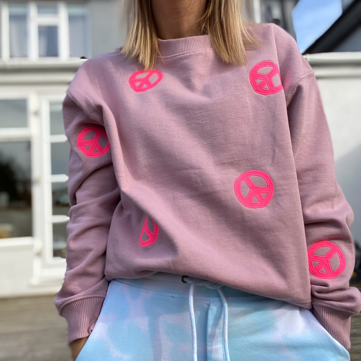 PEACE Lilac & Neon Pink Scatter Organic Sweatshirt