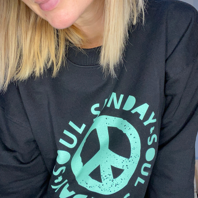 Peace Black & Neon Mint Sweatshirt