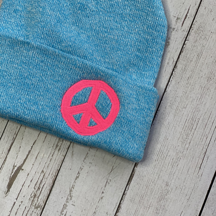 PEACE Blue Surfspray Beanie