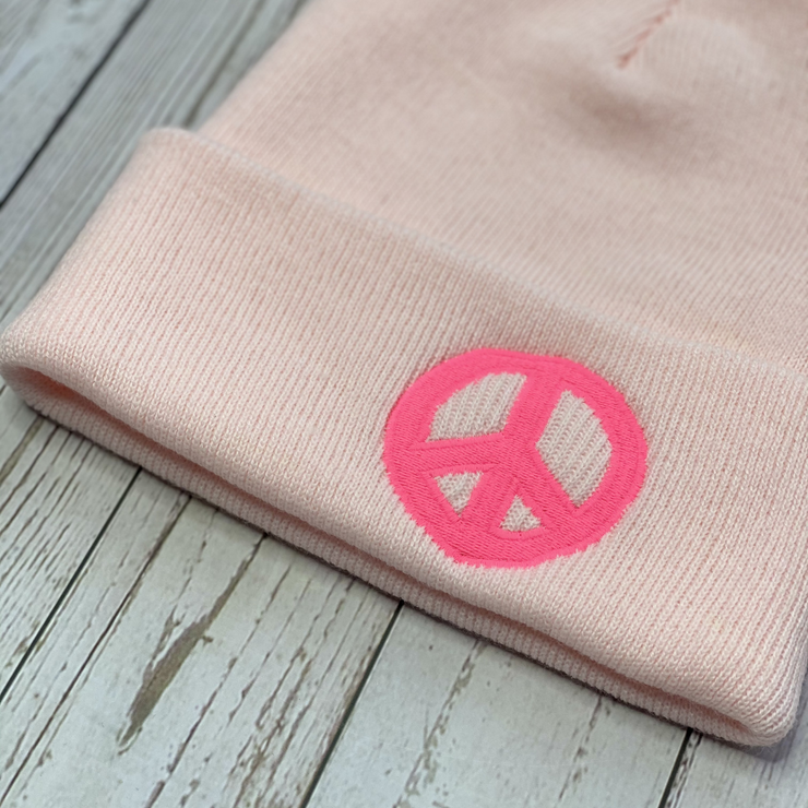 PEACE Palest Pink & Neon Beanie