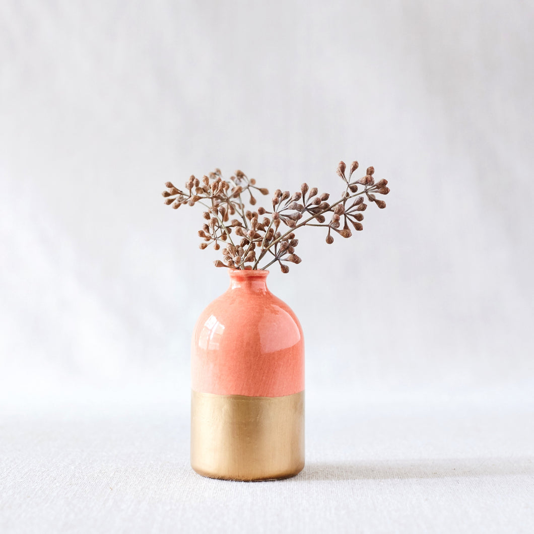 Coral & Gold Dipped Bud Vase