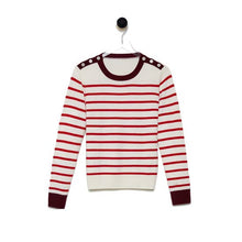 Load image into Gallery viewer, Cashmere Shoulder Button Striped Sweater (multiple colors available)