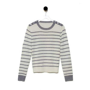 Cashmere Shoulder Button Striped Sweater (multiple colors available)