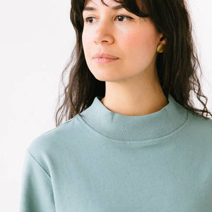 Mock Neck Terry Sweatshirt in Sage