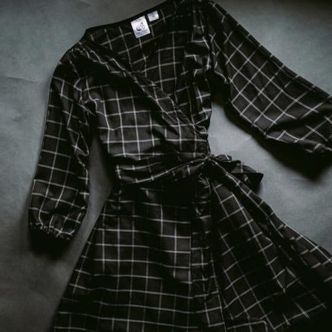 Janie Wrap Dress in Windowpane