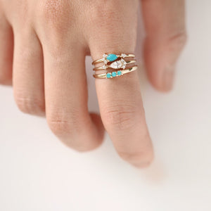Three Turquoise Ring