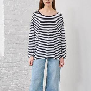Scoop Neck Stripe Top, Navy & Ivory