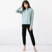 Load image into Gallery viewer, Mock Neck Terry Sweatshirt in Sage