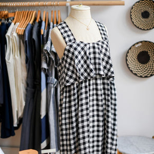 Linen Gingham Maxi Dress (Sizes M, L)