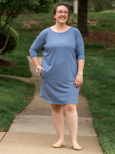 Ruth Dress (charcoal & blue)