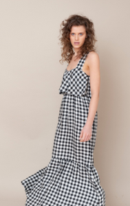 Linen Gigham Maxi Dress