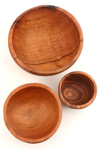 Set of Three Wild Olive Bowls