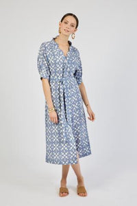 Midi Dress in Blue Tile Print (Size Small)