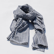 Load image into Gallery viewer, Blue & White Striped Scarf