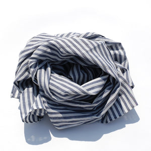Blue & White Striped Scarf