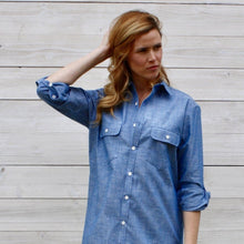 Load image into Gallery viewer, Blue Chambray Shirt Dress