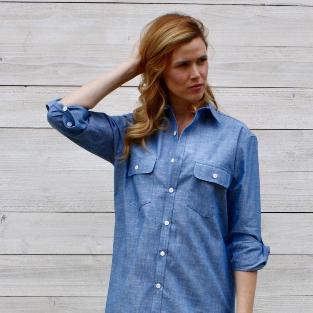 Blue Chambray Shirt Dress
