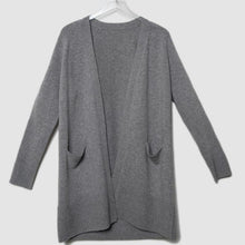 Load image into Gallery viewer, Wool/Cashmere Midi Grey Cashmere Cardigan