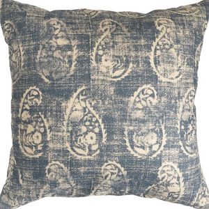 Denim Paisley Throw Pillow