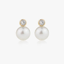 Load image into Gallery viewer, Diamond Pearl Drop Earrings