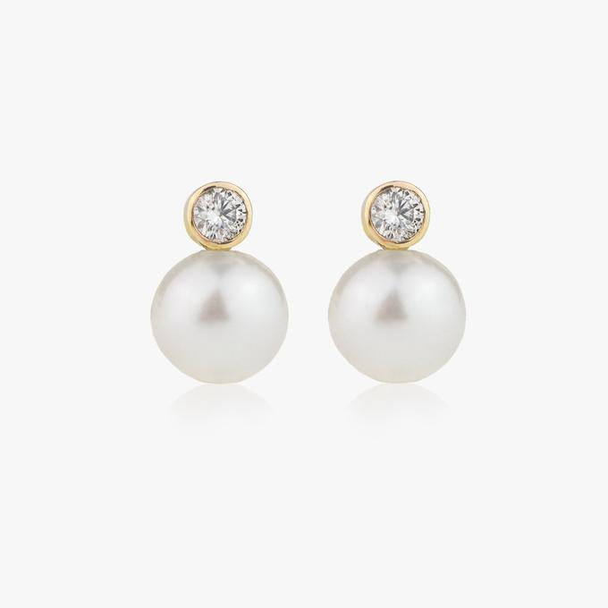 Diamond Pearl Drop Earrings