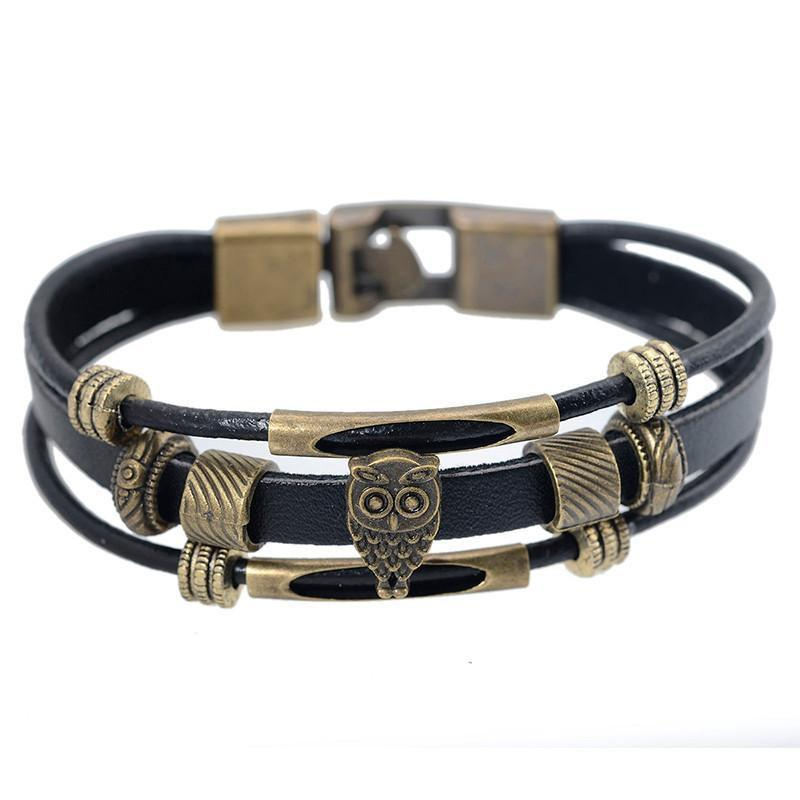 Genuine Leather Owl Wrap Bracelet
