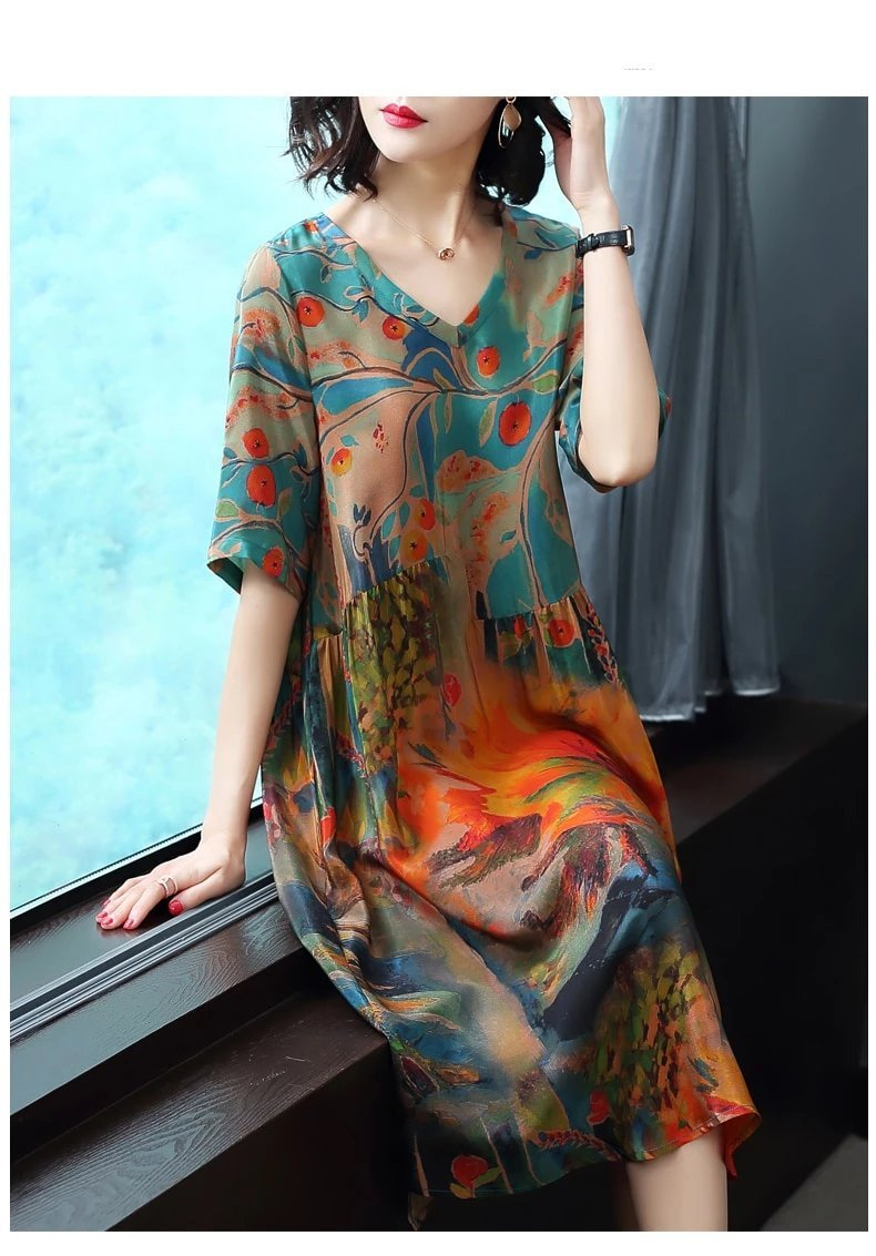 Japanese Luxury Silk Print Dress