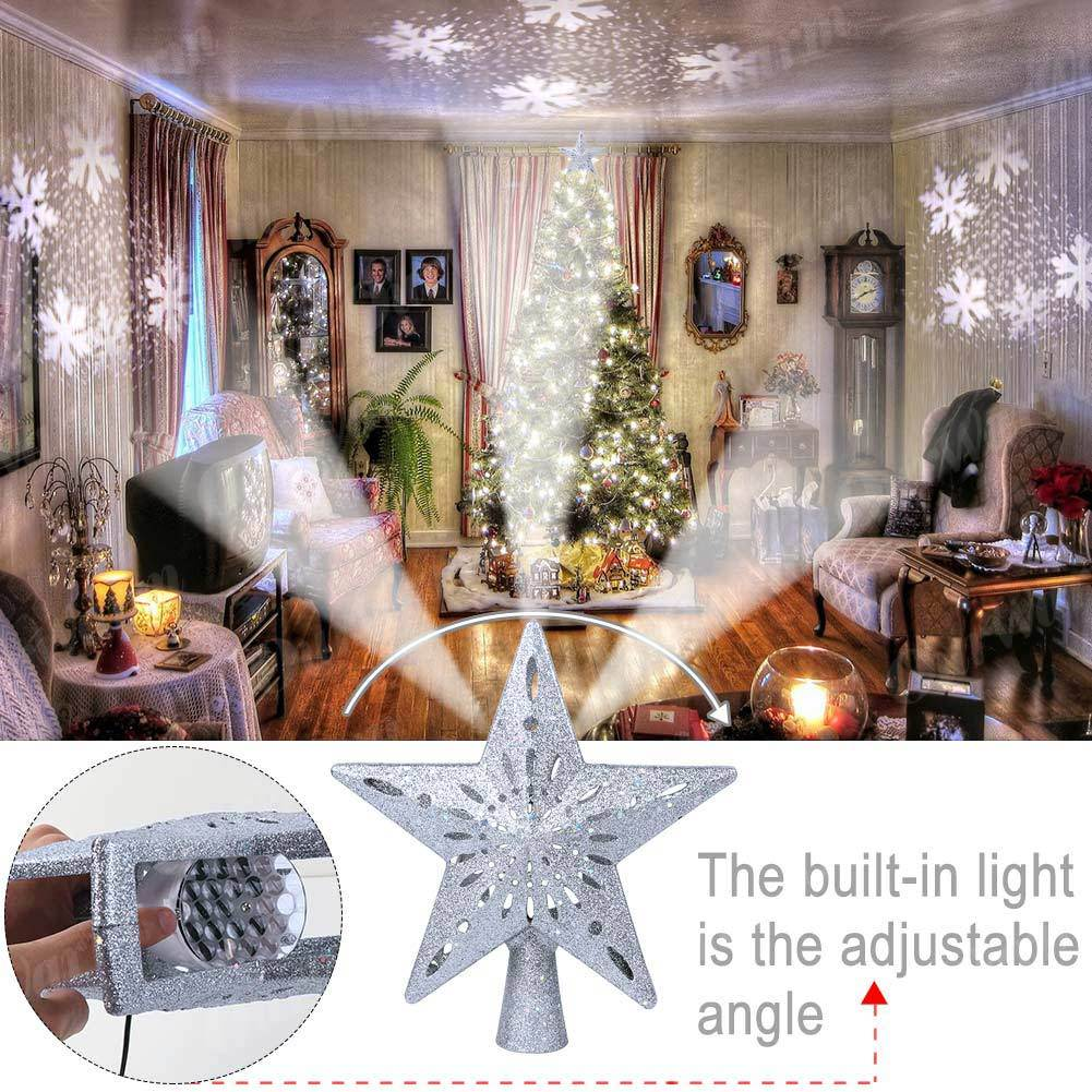 Christmas Tree Topper Snowflake Projector
