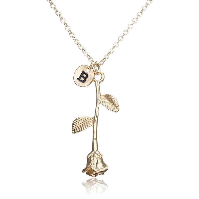 Rose Initial Pendant Necklace