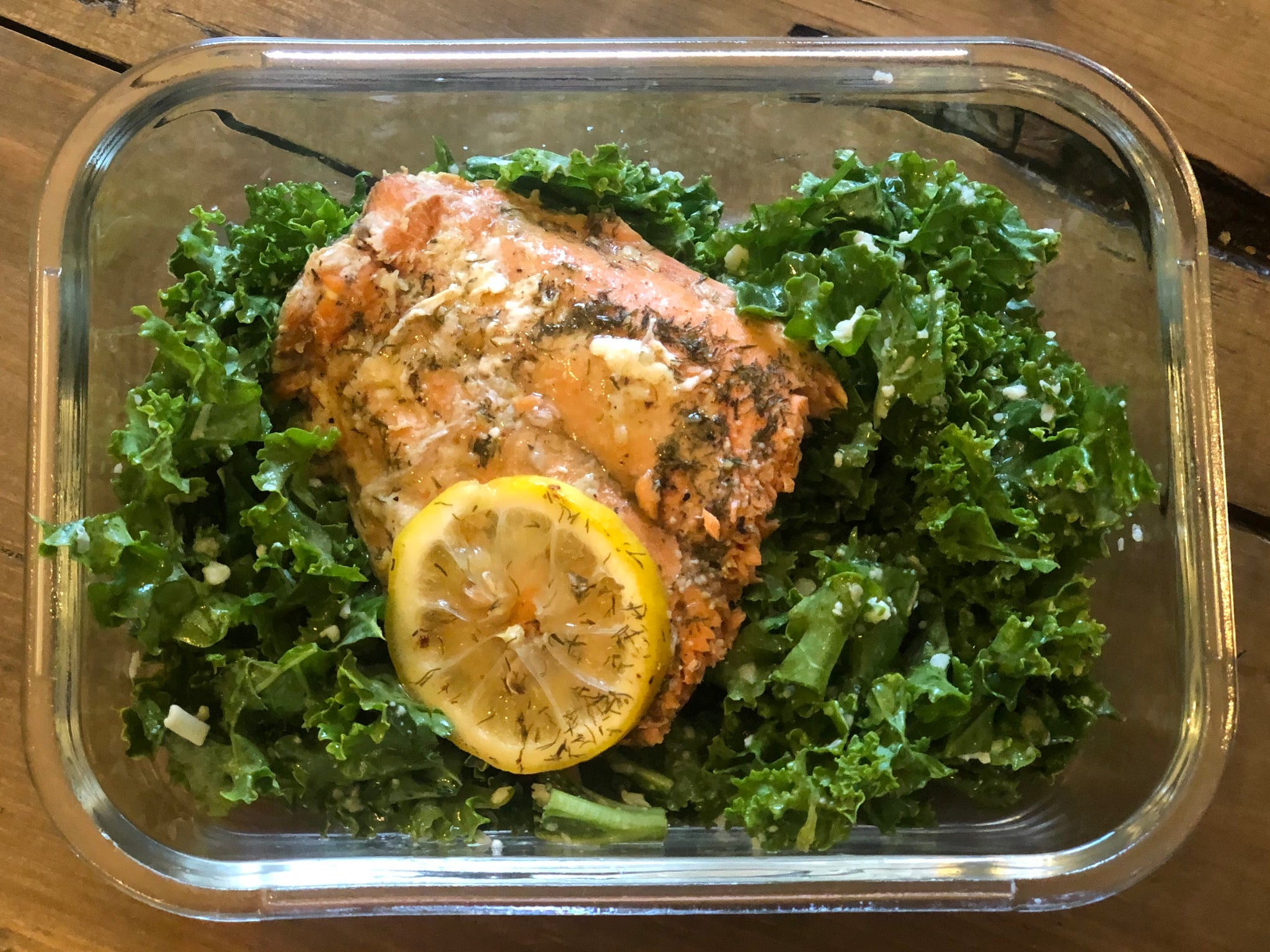 Honey Glazed Garlic Salmon & Lemon Garlic Kale Salad