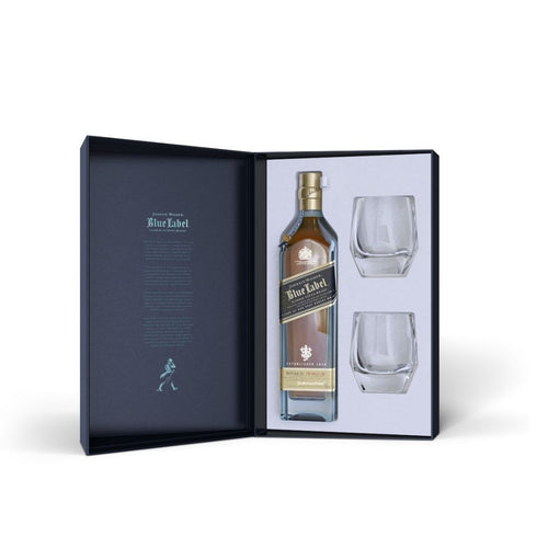 JOHNNIE WALKER BLUE LABEL GIFT PACK WITH 2 CRYSTAL GLASSES 70CL