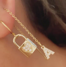 Load and play video in Gallery viewer, Padlock CZ Heart Hoops