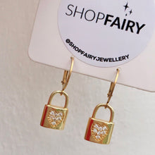 Load image into Gallery viewer, Padlock CZ Heart Hoops