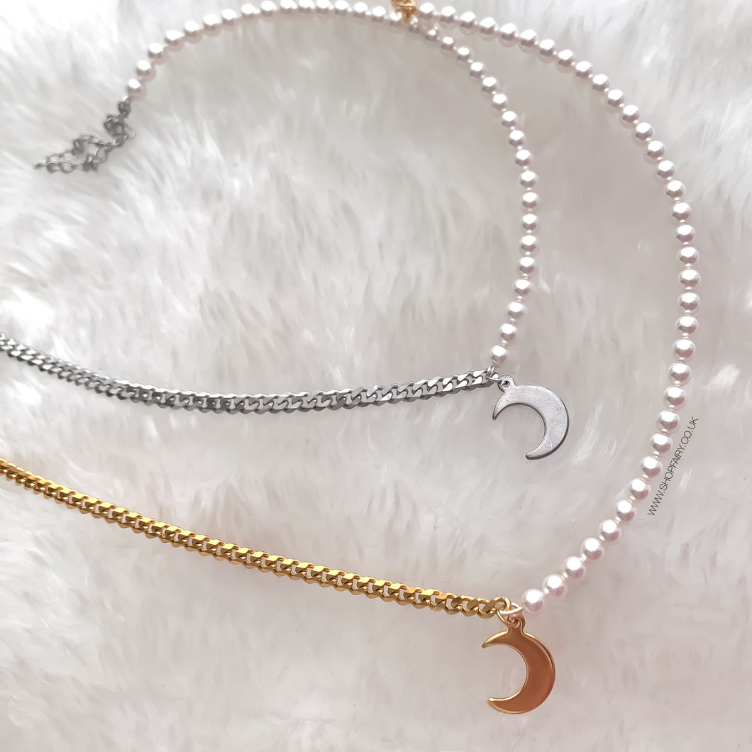 Moon and Pearls Choker