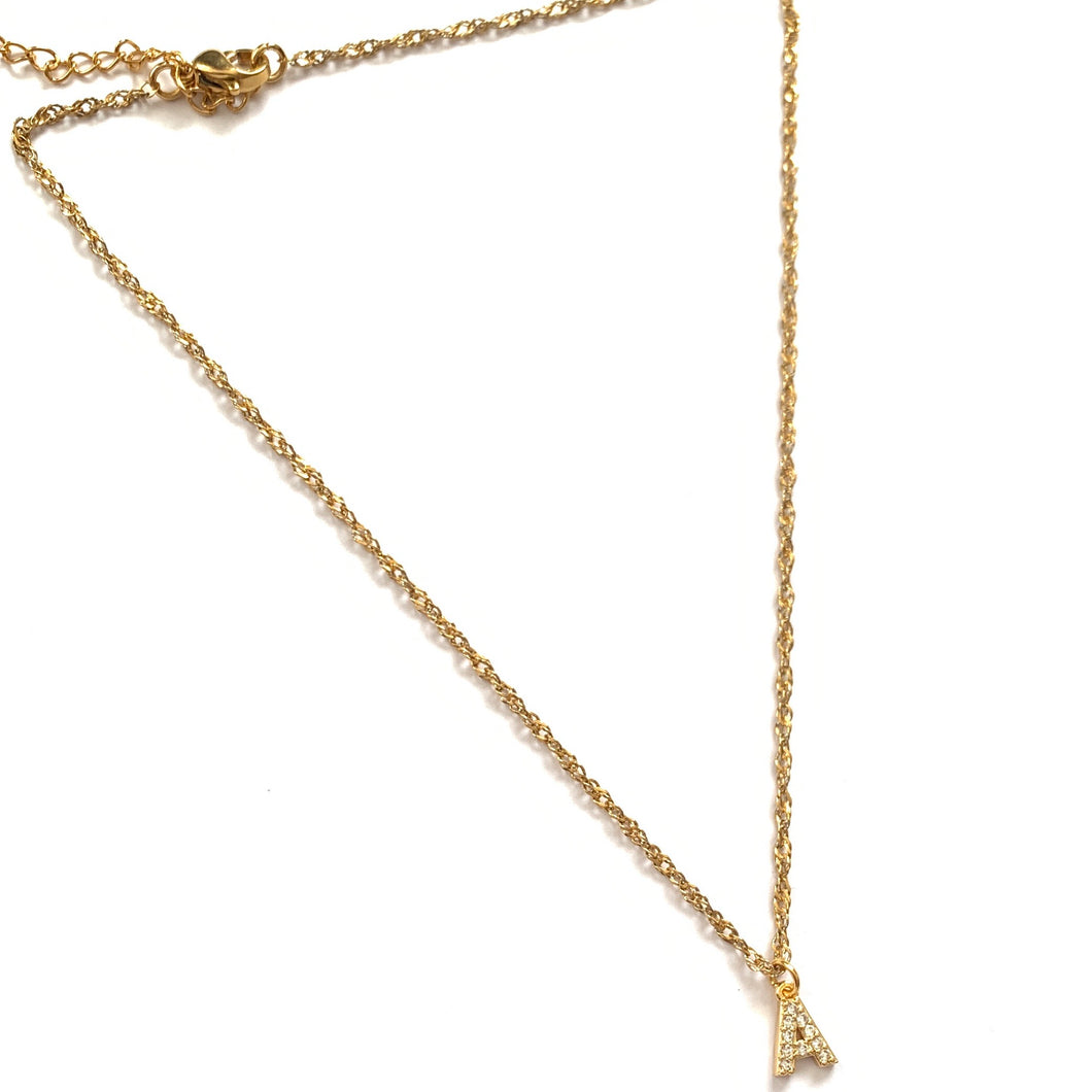 Gold Crystal Initial Necklace