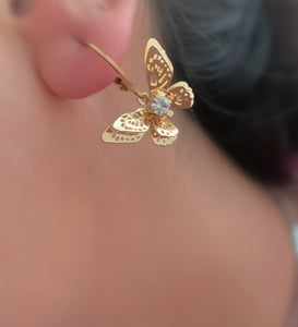 Gold Crystal Butterfly Hoops