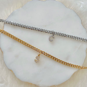 Midi Crystal Initial Necklace