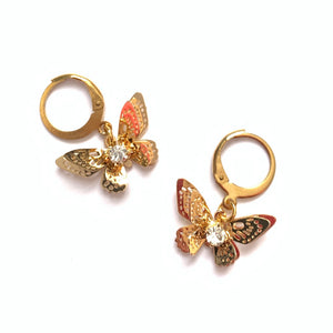 Crystal Butterfly Hoops
