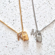 Load image into Gallery viewer, Padlock Initial Necklace