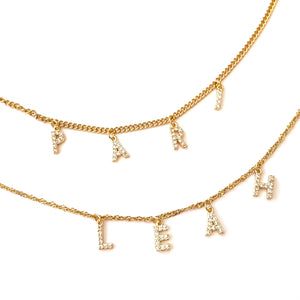 Gold Crystal Name Necklace