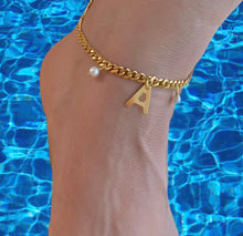 Load image into Gallery viewer, Baby Pearls Initial Anklet