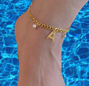 Baby Pearls Initial Anklet