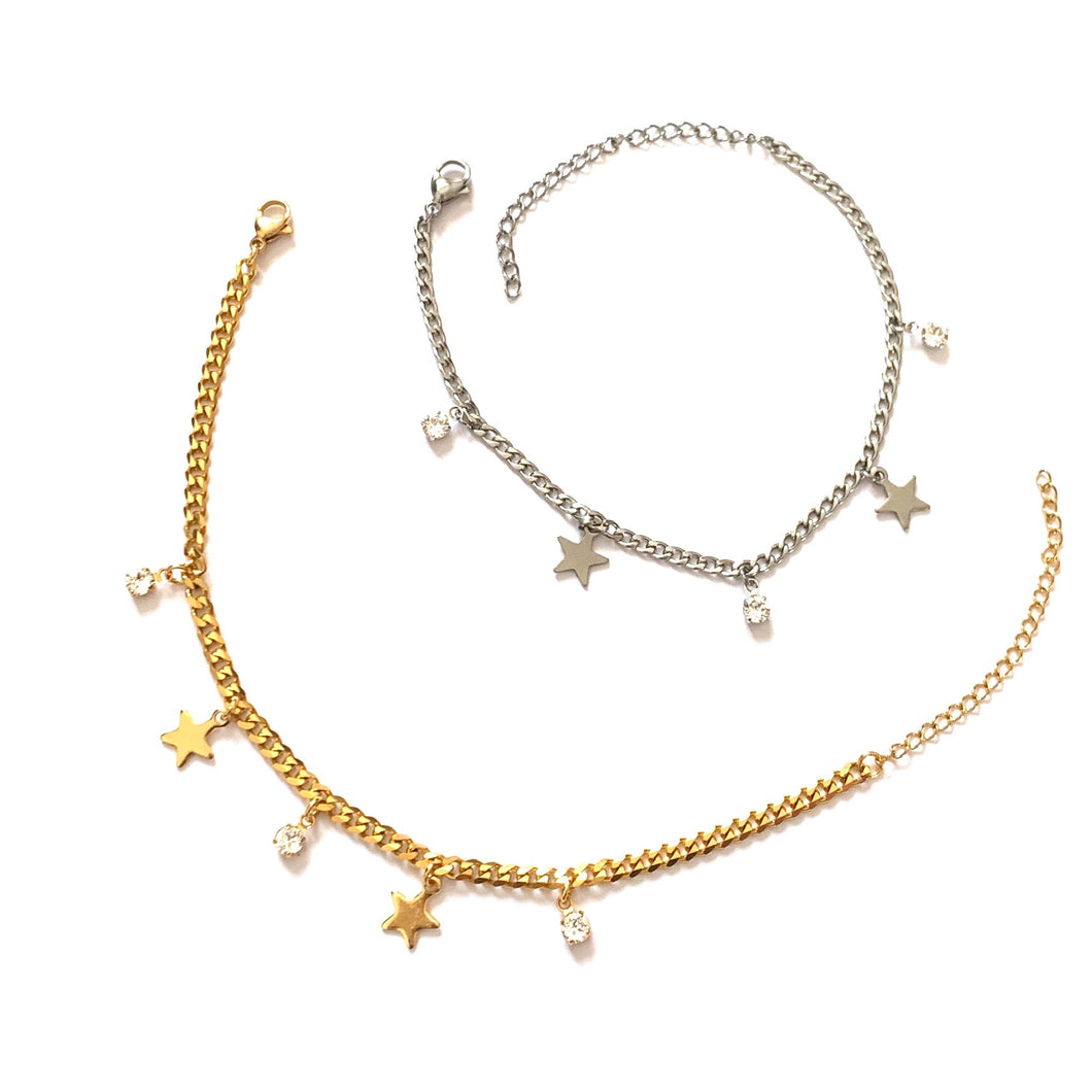Crystal and Stars Anklet