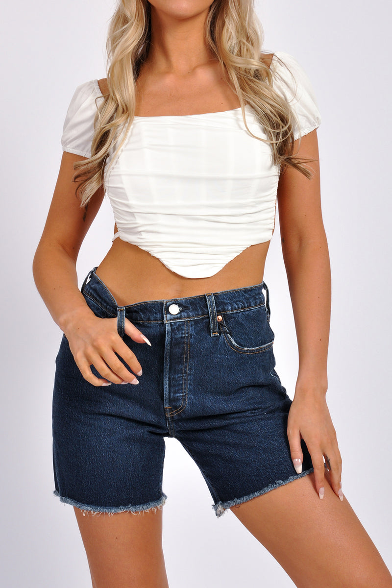 Seamless Rib Cut Out Side Crop Tank - M Boutique