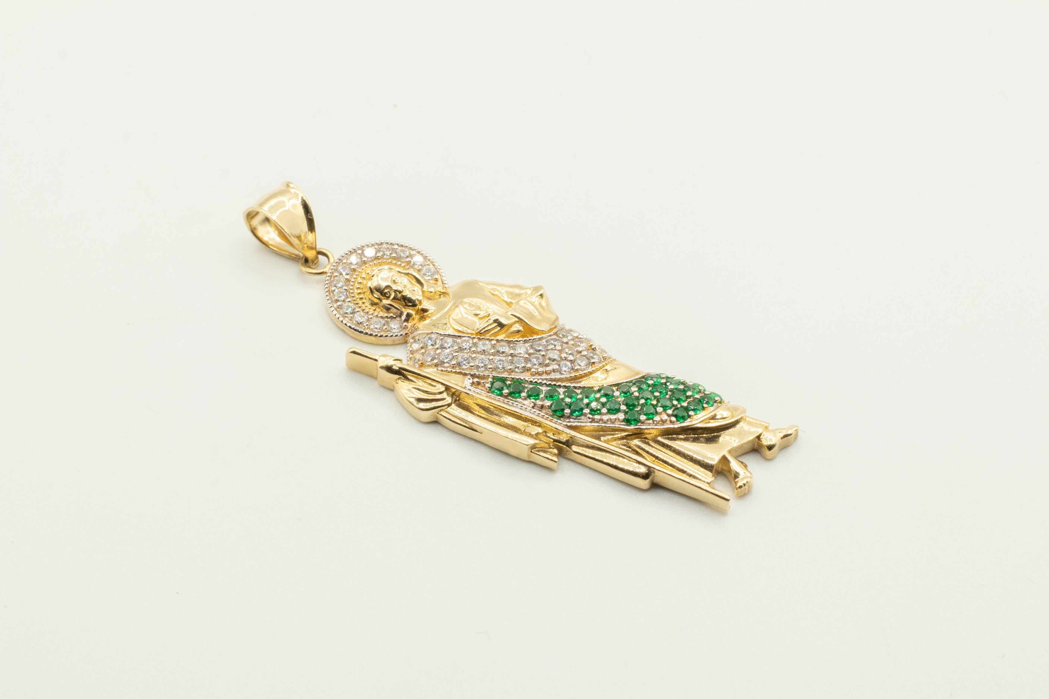San Judas Pendant with Green and Clear Zirconias