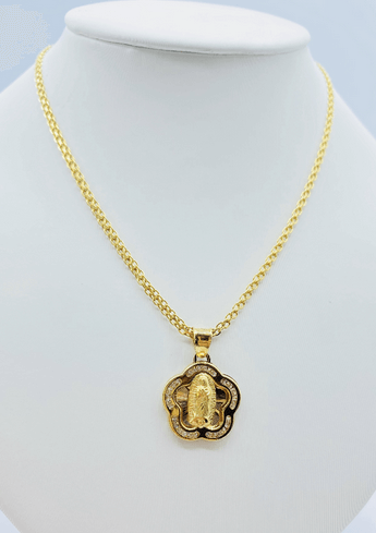 Necklace and Virgen Maria Pendant 10k Gold