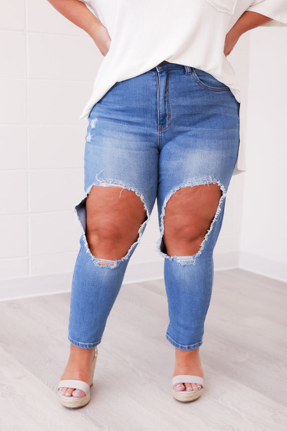 Distressing Over You Jeans